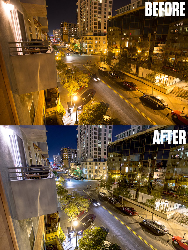 Before and after night photos edited in lightroom